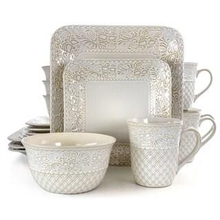 Elama Ivory Lotus 16 Piece Square Stoneware Dinnerware Set