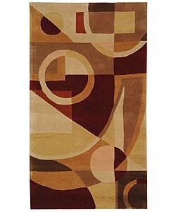 Handmade Rodeo Drive Deco Beige/ Multi N.Z. Wool Rug (2'6 x 4'6)