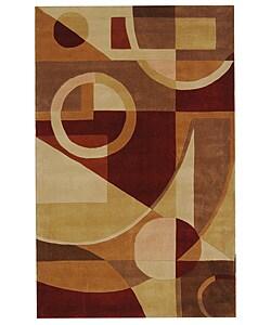 Handmade Rodeo Drive Deco Beige/ Multi N.Z. Wool Rug (5' x 8')