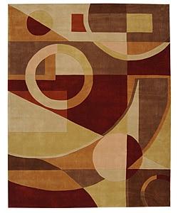 Handmade Rodeo Drive Deco Beige/ Multi N.Z. Wool Rug (7'6 x 9'6)