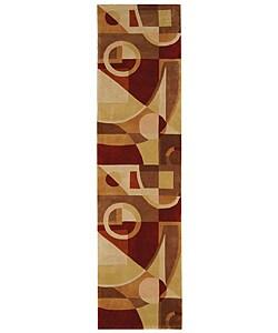 Handmade Deco Beige/ Multi N. Z. Wool Runner (2'6 x 10')