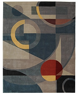 Handmade Rodeo Drive Deco Blue/ Multi N.Z. Wool Rug (7'6 x 9'6)