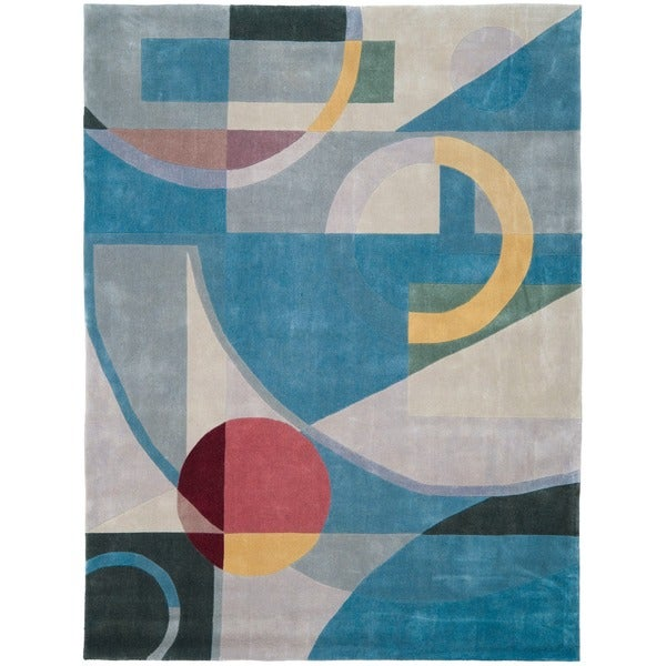 Safavieh Handmade Rodeo Drive Deco Blue/ Multi N.Z. Wool Rug (7'6 x 9'6)