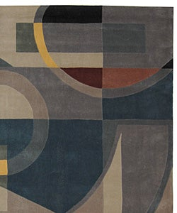 Handmade Rodeo Drive Deco Blue/ Multi N.Z. Wool Rug (8' x 11')