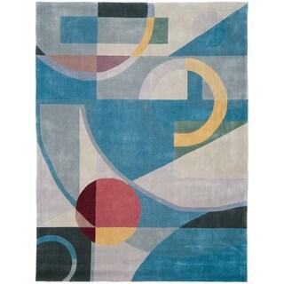 Safavieh Handmade Rodeo Drive Deco Blue/ Multi N.Z. Wool Rug (8' x 11')