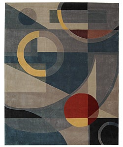 Handmade Rodeo Drive Deco Blue/ Multi N.Z. Wool Rug (9'6 x 13'6)