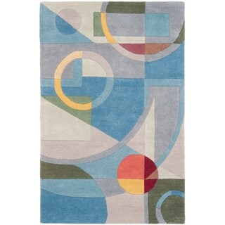 Safavieh Handmade Rodeo Drive Deco Blue/ Multi N.Z. Wool Rug (9'6 x 13'6)