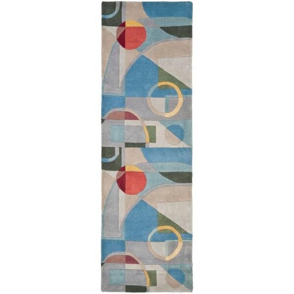 Safavieh Handmade Rodeo Drive Modern Abstract Blue/ Multi Wool Runner Rug (2'6 x 8')