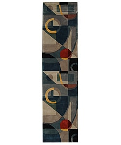 Handmade Rodeo Dr. Deco Blue/ Multi N.Z. Wool Runner (2'6 x 12')