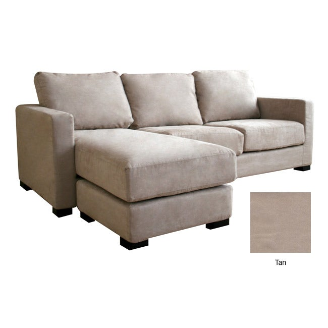 Chyna Tan Microfiber Sofa with Convertible Ottoman/ Chaise ...