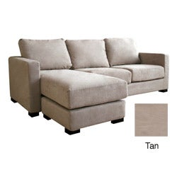 Chyna Tan Microfiber Sofa with Convertible Ottoman/ Chaise