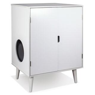 Penn Plax Cat Walk Litter Cabinet - Elegant Modern Design with Double French Doors (White)