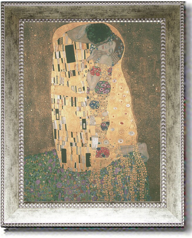 Gustav Klimt 'The Kiss' Extra Large Framed Canvas Art