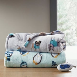 Beautyrest Oversized Plush Printed Heated Throw
