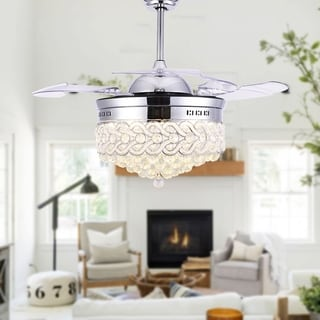Crystal Retractable Ceiling Fan fandelier with LED light, Remote - 42 Inches