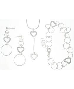 CGC Sterling Silver Geometric Heart 3-piece Jewelry Set