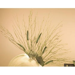 Giant Bamboo Circle Vase and Floral Stems