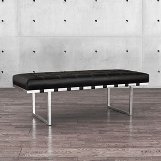 """Andalucia Stainless Black Button-tufted Bench - 16.5"""" high x 50.25"""" wide x 18.25"""" deep"""