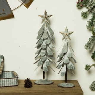 Glitzhome Galvanized Metal Christmas Table Tree Decor