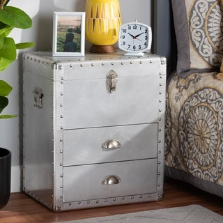 Carbon Loft Rameses French Industrial Silver Metal 2-drawer Accent Storage Chest