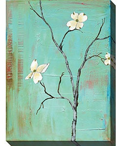 Laura Gunn 'Dogwood on Turquoise I' Canvas Art