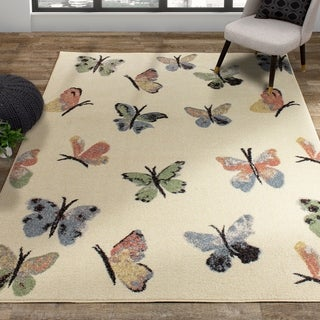 Alpine Kids Cream Pink Butterfly Rug
