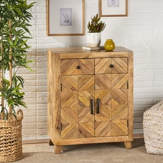 Latham Boho Handcrafted Mango Wood 2 Door 2 Drawer Cabinet by Christopher Knight Home