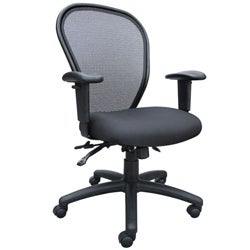 Boss Black Adjustable Tilting Padded High-back Mesh Office Chair