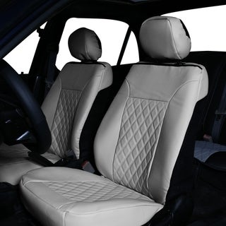 FH Group Solid Gray Deluxe Faux Leather Diamond Pattern Car Seat Cushions - Front