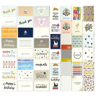 48 Assorted Greeting Cards Birthday, Thank You, Wedding, Blank Inside w/Envelope