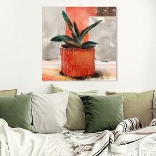 Wynwood Studio 'Congo Sunset Succulent' Floral and Botanical Wall Art Canvas Print - Orange, Green