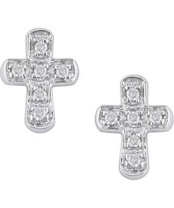 Miadora 10k White Gold Diamond Cross Earrings