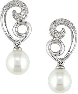 Miadora 10k White Gold Freshwater Pearl Diamond Earrings
