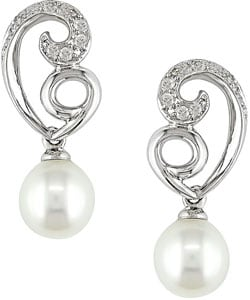 Miadora 10k White Gold Freshwater Pearl Diamond Earrings