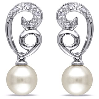Miadora 10k White Gold Cultured Freshwater Pearl Diamond Earrings