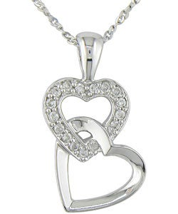 Miadora 10k White Gold Diamond Double-heart Necklace