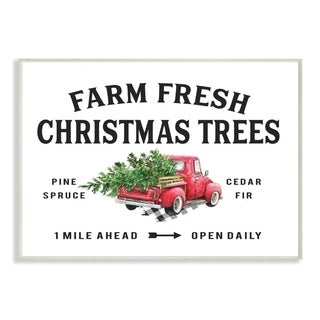 Stupell Industries Farm Fresh Christmas Trees Red Truck Holiday Word Design Wood Wall Art, Proudly Made in USA