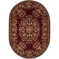 Handmade Heritage Red Wool Rug (4'6 x 6'6 Oval)