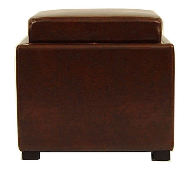 Safavieh Bobbi Tray Cordovan Leather Storage Ottoman
