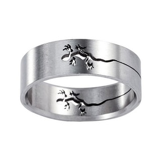 Men's Titanium Band with Cutout Lizard Design