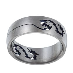 Men's Titanium Band with Cut-out Dragon Design (8 mm)