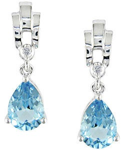 Miadora 10k Gold Blue Topaz Diamond Teardrop Earrings