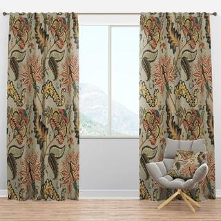 Designart 'Vintage Indian Floral Pattern' Tropical Curtain Panels