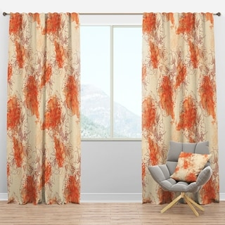 Designart 'Handdrawn Asian Flowers with Orange Watercolor' Floral Curtain Panels