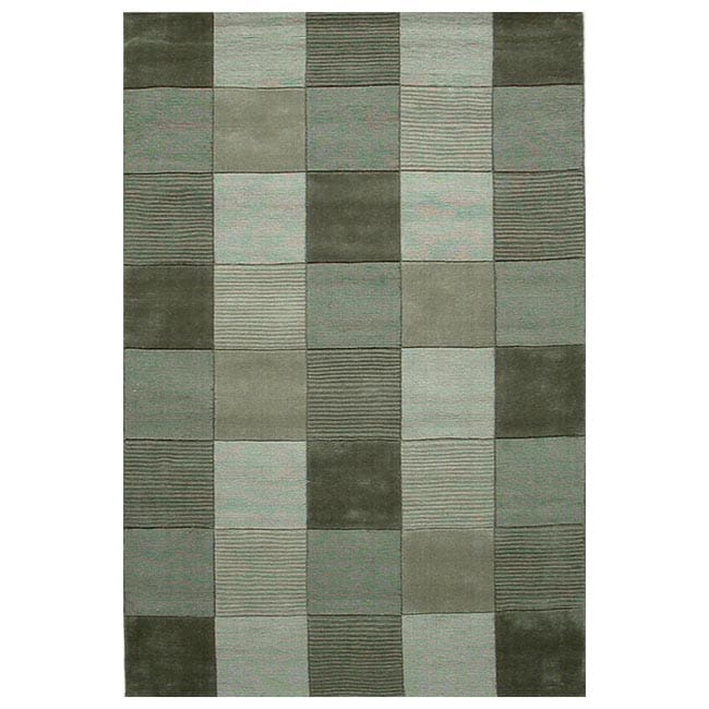 Hand-tufted Green Tile Wool Rug (5' x 8')