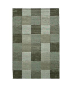 Hand-tufted Green Tile Wool Rug (8' x 10' 6)