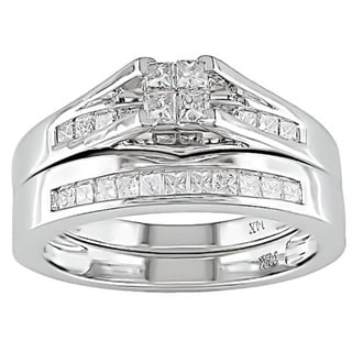 Miadora 14k White Gold 1/2ct TDW Diamond Bridal Ring Set (H-I, I1-I2)