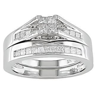 Miadora 14k White Gold 1/2ct TDW IGL-certified Diamond Bridal Ring Set (H-I, I1-I2)