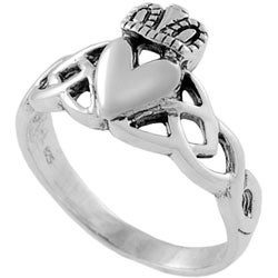 Tressa Sterling Silver Claddagh Design With Fancy Band