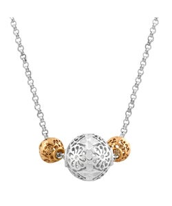 Fremada Sterling Silver 14k Pink Gold Filigree Balls Necklace